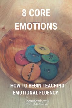 The Emotions Bowl teaching kids about emotions and how to regulate them : Emotional intelligence begins with being able to talk about emotions. Begin with these 8 core emotions using the emotions bowl as a fun conversation starter. List Of Emotions, Teaching Emotions, Social Emotional Learning, Teaching Kids, Emotions Game, Gentle Parenting, Parenting Advice, Kids And Parenting, Peaceful Parenting