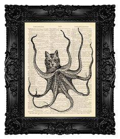 OCTOPUSSY Steampunk Cat Decor Funny Bathroom Wall Art Decor Funny Art Print Funny Animal Art Nautical Nursery Steampunk Octopus Art Print 89 by MadameBricolagePrint on Etsy https://www.etsy.com/listing/108002958/octopussy-steampunk-cat-decor-funny