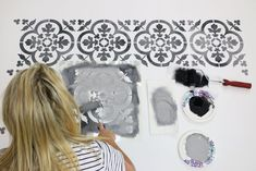 Cutting Edge Stencils shares 3 Easy Steps to Stencil a Colorwash Tile using tile stencils. DIY reusable stencils for wall, floor, and furniture stencil.