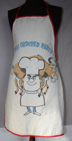 Vintage Apron, Men's Barbeque Apron, Bib Style, Cute Graphic, 1950's to 1960's on Etsy, $9.00