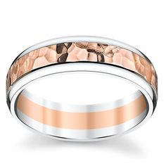14K White And Rose Gold 6.1mm Men's Comfort Fit Wedding Band