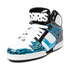 Shop for Womens Osiris NYC 83 Slim Skate Shoe in White Turquoise Black at Journeys Shoes. Shop today for the hottest brands in mens shoes and womens shoes at Journeys.com.High-top skate shoe from Osiris featuring a patent upper with zebra print accents and a padded tongue and collar for comfort.