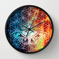 Flower of Life Moth Wall Clock by Freja Friborg - $30.00
