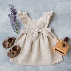 Tied Strap Dress, Beige Linen Dress Dark Beige Flutter Sleeve Dress Baby Girl Linen Dress Baby Shower Gift Flower Girl Dress
