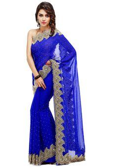 Hand Embroidered Georgette Saree in Royal Blue Royal Blue Saree, Blue Silk Saree, Anarkali, Lehenga, Saree Designs Party Wear, Mirror Work Saree, Indian Photoshoot, Stylish Sarees, Work Sarees