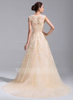 A-Line/Princess V-neck Court Train Beading Appliques Lace Sequins Zipper Up Cap Straps Sleeveless Church General Plus No Spring Summer Fall Champagne Tulle Wedding Dress