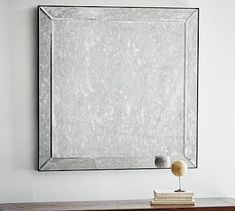 "36"" square x 1.5"" deep Weight: 50.75 pounds Walker Antiqued Glass Wall Mirror #potterybarn"