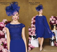 Mother Of Bride Dresses Plus Sizes 2015 Royal Blue Cap Sleeves Knee Length Ronald Joyce Mother Of The Bride/Groom Dresses With Chiffon Jacket Mother Of Groom Outfits From Orient2015, $100.84| Dhgate.Com Bride Groom Dress, Bride Dresses, Formal Dresses, Wedding Dresses, Formal Wear, Lace Wedding, Mother Of Groom Outfits, Royal Blue Outfits, Galaxy Wedding