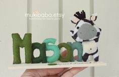 CUSTOM NAME ZEBRA - custom kid's decor- personalized baby decor - zebra - children room decor - safari baby. $28.00, via Etsy.