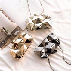 Abigail - Geometric Crossbody Mini Clutch Frame Purse, Vegan Handbags, Small Shoulder Bag, Box Frames, Small Bags, Metal Chain, Clutch Purse, Evening Bags, Purses