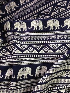 Elephant Print Fabric Boho FabricAlternate Elephant PrintDark Navy and White Indian CottonIndian Elephantfabric by the yardfolk print (2.50 USD) by FibersToFabric