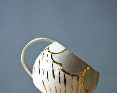 large tea cup, white and gold porcelain cups, handmade ceramic cup, rainy day mug, irish gifts, drinking cup, karoArt, irish pottery mug
