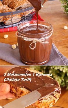 1 Jar of 3 Ingredients Chocolate 3 Malzemeden 1 Kavanoz Çikolata Tarifi - Köstliche Desserts, Delicious Desserts, Dessert Recipes, Chocolate Recipes, Hot Chocolate, Dessert Chocolate, Pots, Food Articles, Turkish Recipes