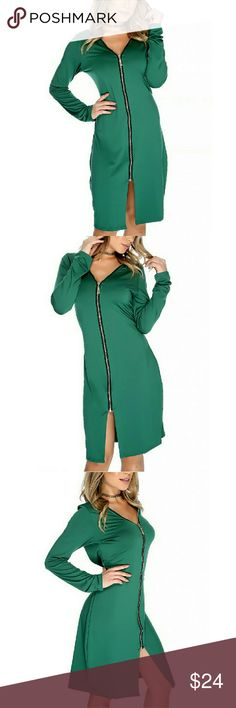 Forest Green Casual Dress Look Sexy for a day or night style with this dress! Features; high polish zip front, long sleeve, front leg slit and followed by a semi-fit wear. A Must Have! 95% Polyester 5% Spandex Dresses