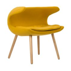 Have a quiet conversation in this chair inspired by iconic mid-20th century design. Upholstered with a mustard-yellow fabric and accentuated with tapered wooden legs, this eye-catching chair provides an intimate space for those who want to share more with family and friends.