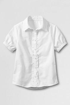 1b3130da231 School Uniform Short Sleeve Ruffle Placket Oxford Shirt from Lands  End