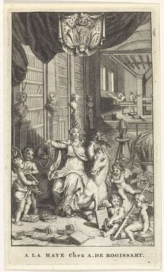 Alexandre de Rogissart | Europa in een bibliotheek, Alexandre de Rogissart, 1718 | De vrouwelijke personificatie van Europa zit op een paard in een bibliotheek. In haar handen een scepter en een hoorn des overvloeds. Ze wordt vergezeld door putti met attributen die de kunsten en wetenschappen symboliseren. Op de achtergrond twee mannen in een werkplaats.