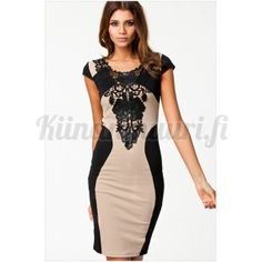 Pitsikoristeinen mekko, khaki-musta