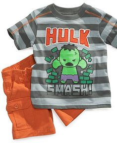 Nannette Baby Set, Baby Boys Marvel Hulk Stripe Tee and Shorts Set - Kids - Macy's