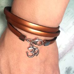 Bronze metallic leather and sterling silver ohm bracelet Handmade Shop, Handmade Items, Meaningful Gifts, Metallic Leather, Nice Things, Gifts For Him, Bliss, Unique Gifts, Etsy Seller