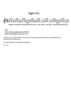 Teaching Elementary Music: Tanya's Blog: Songs with games Apple Tree game song
