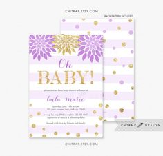 Purple Oh Baby Shower Invitations With Luxe White Envelopes - Printed, Lavender Gold Floral Confetti Babies Sprinkle Glitter Girl White Brunch Boy Striped Sparkle - chitrap.etsy.com