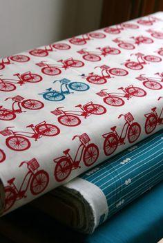 Bike Fabric - Red&Aqua