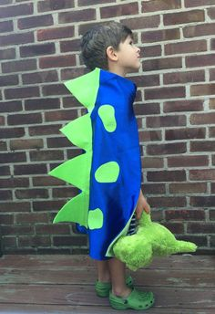 Children Dinosaur Costume - Blue Skin and Lime Spots/Spikes - Easy  costume and Unique Kid dress up play