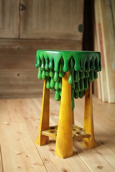 STOOL wood green yellow painted by daisukeTOU on Etsy