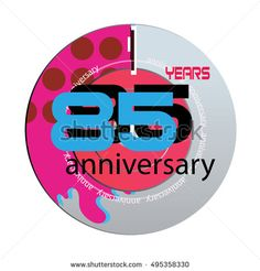 85 years anniversary logo with pink color disc. anniversary logo for birthday, wedding, celebration and party