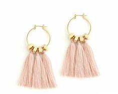 Pink Tassel Earrings Boho Fan Earrings Old Rose Fringe Earrings Bohemian Bride Earrings Hippie Statement Earrings Clip On Chandeliers Pink Tassel Earrings, Bride Earrings, Diy Earrings, Crystal Earrings, Stud Earrings, Earings Gold, Diy Statement Earrings, Boho Jewelry, Jewelery