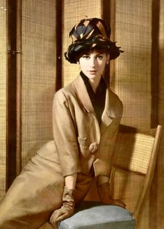 Katherine Pastrie in elegant raw silk suit worn over black chiffon blouse by Lanvin-Castillo, photo by Pottier, 1962
