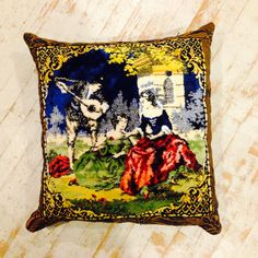 European velvet tapestry made into one of a kind pillow by LeebaMarks on Etsy