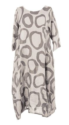 Ladies Womens Italian Lagenlook Quirky Short Sleeve Abstract Circle Print 2 Side Pocket Linen Long Dress One Size UK 12-16 (One Size, Beige)