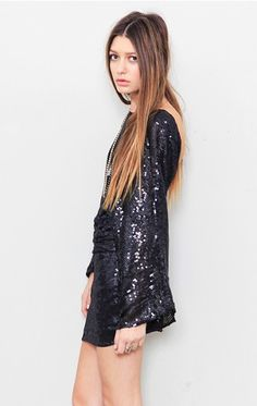 Again with the sequins and the deep, deep V backs ... this sweet holiday sparkler by Parker is to die