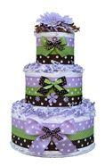 Lavender baby girl diaper cake