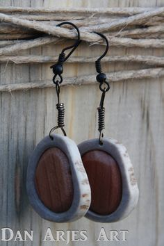 Antler Earrings with Cedar Inlay by TheAntlerArtisan on Etsy, $14.00