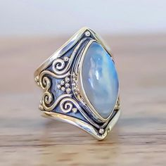 Tribal Rainbow Moonstone Ring || Available in our 'Gems and Stones' Collection at www.indieandharper.com
