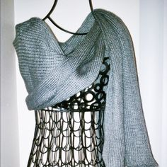 "Super Long Knit Scarf - Grey Extra long acrylic knit shawl 88"" x 13.5"", weight 8 oz. Accessories Scarves & Wraps"