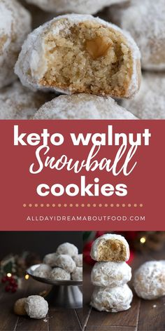 These Keto Snowball Cookies are sure to make your holidays merry and bright! With crushed walnuts and a hint of cardamom or cinnamon, they are the perfect sugar-free holiday cookies for you and all of your loved ones. Low Carb Sweets, Low Carb Desserts, Sin Gluten, Gluten Free, Dairy Free, Snowball Cookies, Keto Holiday, Keto Cookies, Chip Cookies