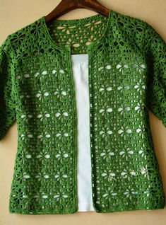 Crochet and arts: green crochet cardigan