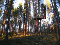 The Mirror Tree House- Located 40 miles south of the Artic Circle in Sweden, the Mirror Tree House was constructed by Tham & Videgard. When pictures were first unveiled to the public, many people actually thought it was a digitally created image. Boy were they wrong! Tham & Videgard were enlisted to complete the structure as part of the Tree Hotel Project. This is one of 6 hotel tree houses that are available for rent. Add this to your bucket list.