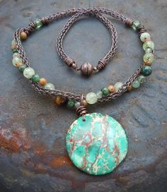 Turquoise Green Magnesite and Viking Knit Necklace.