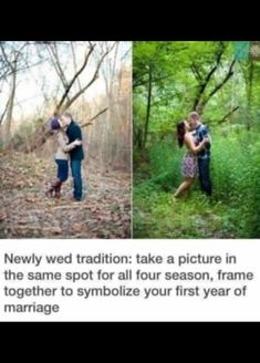 Newly wed tradition: take a picture in the same spot for all four seasons, frame together to symbolize your first year of marriage Cute Wedding Ideas, Wedding Goals, Wedding Tips, Wedding Pictures, Perfect Wedding, Wedding Planning, Dream Wedding, Wedding Day, Wedding Stuff