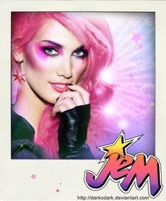 Jem And The Holograms Celebrity Mock Ups - JemInspiration for Gabrielle's Halloween costume using some fabulous Younique pigments.  http://www.beautybombshell.net