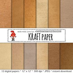 """New to SandraGraphicDesign on Etsy: Digital paper pack: """"KRAFT PAPER"""" with brown kraft paper backgrounds textures instant download (1095) (4.25 USD)"""
