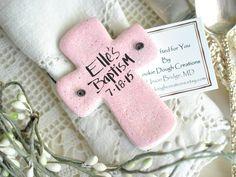 Wholesale Baptism Favors Set of 10 Chunky Personalized Salt Dough Cross Ornaments