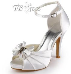 Graceful White Upper Stiletto Heels Peep-toes Wedding Bridal Shoes