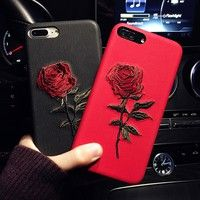Wish | 2017 Women Beautiful Creative iPhone Embroidery Rose Mobile Phone Caes For Iphone 6/6Plus/7/7Plus PU Leather Case