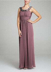 Ultra feminine and perfect for any Bridesmaid on your special day! Sleeveless bodice features eye-catching heavily beaded neckline. Empire waist creates a flattering silhouette. Stunning cowl back adds a touch of drama to this already sensational dress. Fully lined. Back zip. Imported polyester. Dry clean. A bodice with a high waistline directly below the bust. A great look for most body types.